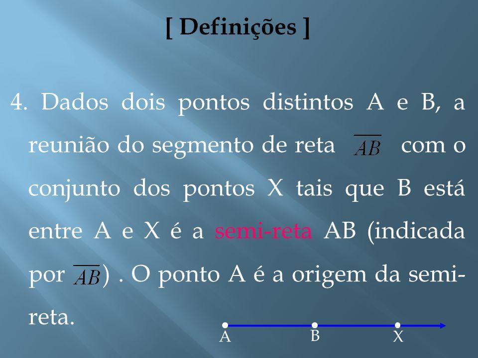 [ Definições ] 3. Dados dois pontos distintos A e B, a reunião do conjunto desses dois pontos com o conjunto dos pontos que estão entre eles é um segm