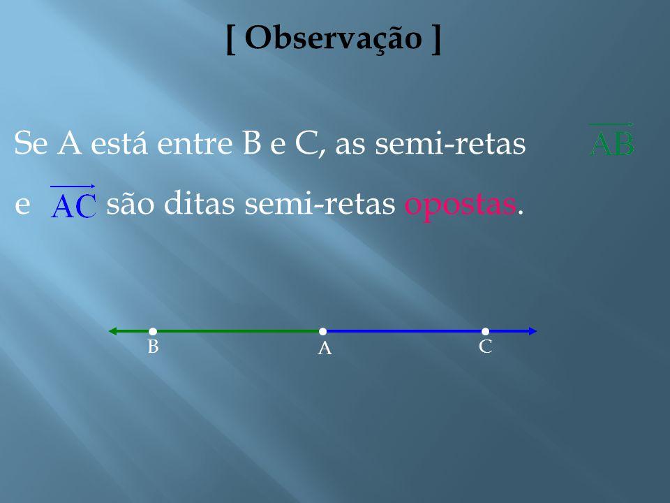 [ Definições ] 4. Dados dois pontos distintos A e B, a reunião do segmento de reta com o conjunto dos pontos X tais que B está entre A e X é a semi-re