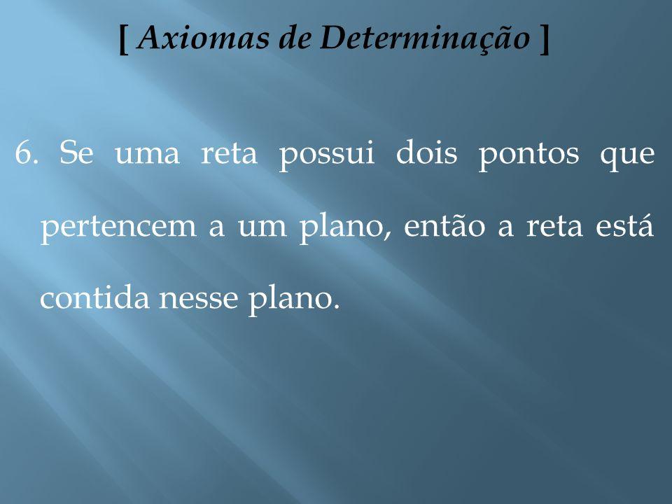 [ Axiomas de Determinação ] 4. Dados dois pontos distintos, existe uma única reta que passa por eles. 5. Dados três pontos não colineares, existe um ú