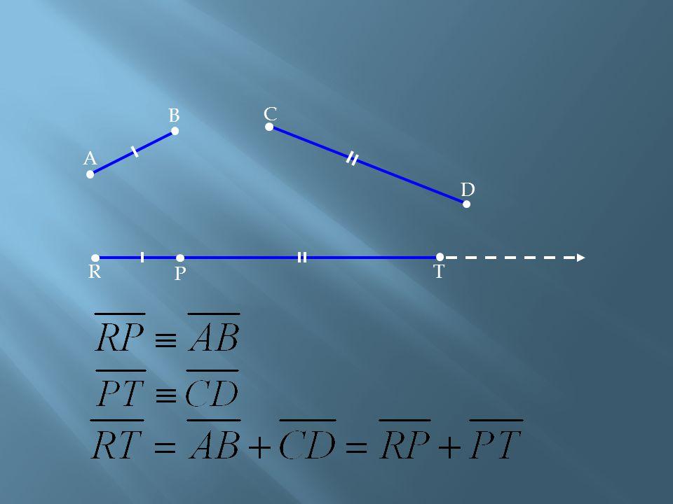 ] [Adição de Segmentos Dados dois segmentos e, tomando-se numa semi-reta qualquer de origem R os segmentos e tais que e, dizemos que o segmento é a so
