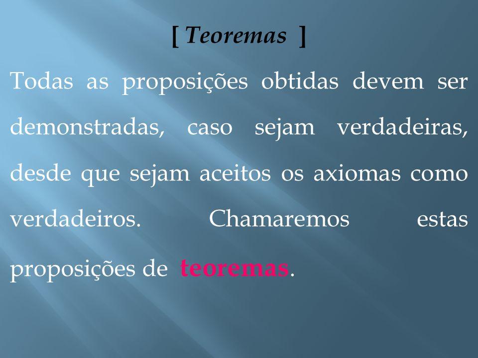 [ Axiomas ] Os axiomas (ou postulados) são regras simples (ou conjunto de regras) que determinam como os conceitos primitivos devem se comportar, suas