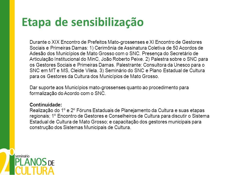 Etapa de sensibilização Durante o XIX Encontro de Prefeitos Mato-grossenses e XI Encontro de Gestores Sociais e Primeiras Damas: 1) Cerimônia de Assinatura Coletiva de 50 Acordos de Adesão dos Municípios de Mato Grosso com o SNC.