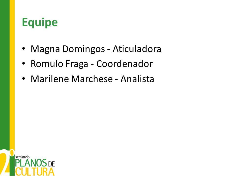 Equipe Magna Domingos - Aticuladora Romulo Fraga - Coordenador Marilene Marchese - Analista