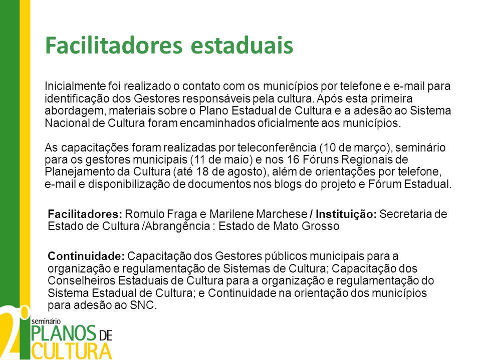 Facilitadores estaduais Inicialmente foi realizado o contato com os municípios por telefone e e-mail para identificação dos Gestores responsáveis pela cultura.