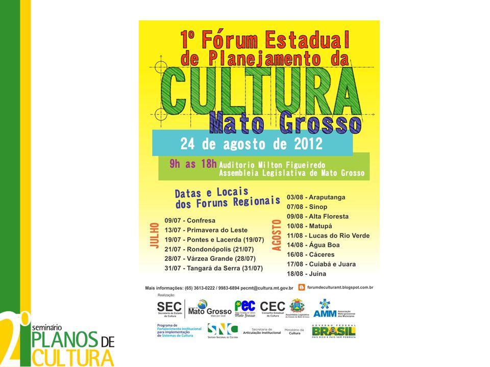 Etapa de diagnóstico O último produto do processo de diagnóstico no estado Os objetivos para o Plano Estadual de Cultura serão estabelecidos durante o 1º Fórum Estadual de Planejamento da Cultura, que será realizado no dia 24/08, na Assembleia Legislativa do Estado de Mato Grosso em Cuiabá-MT.