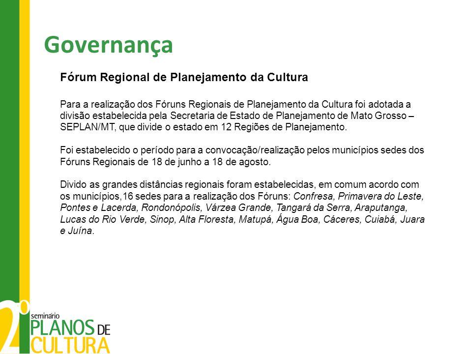 Governança Fórum Regional de Planejamento da Cultura Para a realização dos Fóruns Regionais de Planejamento da Cultura foi adotada a divisão estabelecida pela Secretaria de Estado de Planejamento de Mato Grosso – SEPLAN/MT, que divide o estado em 12 Regiões de Planejamento.