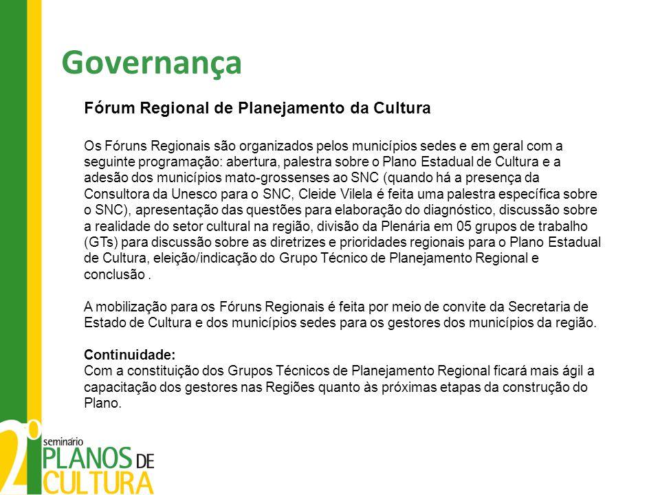 Governança Fórum Regional de Planejamento da Cultura Os Fóruns Regionais são organizados pelos municípios sedes e em geral com a seguinte programação: