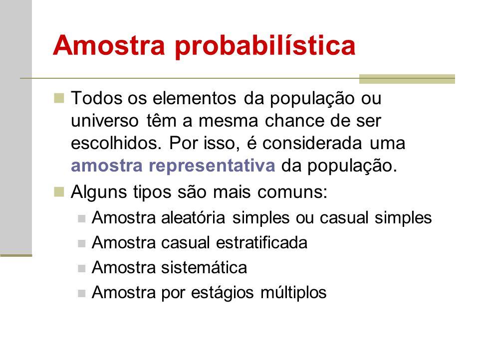 Amostra probabilística Todos os elementos da população ou universo têm a mesma chance de ser escolhidos. Por isso, é considerada uma amostra represent