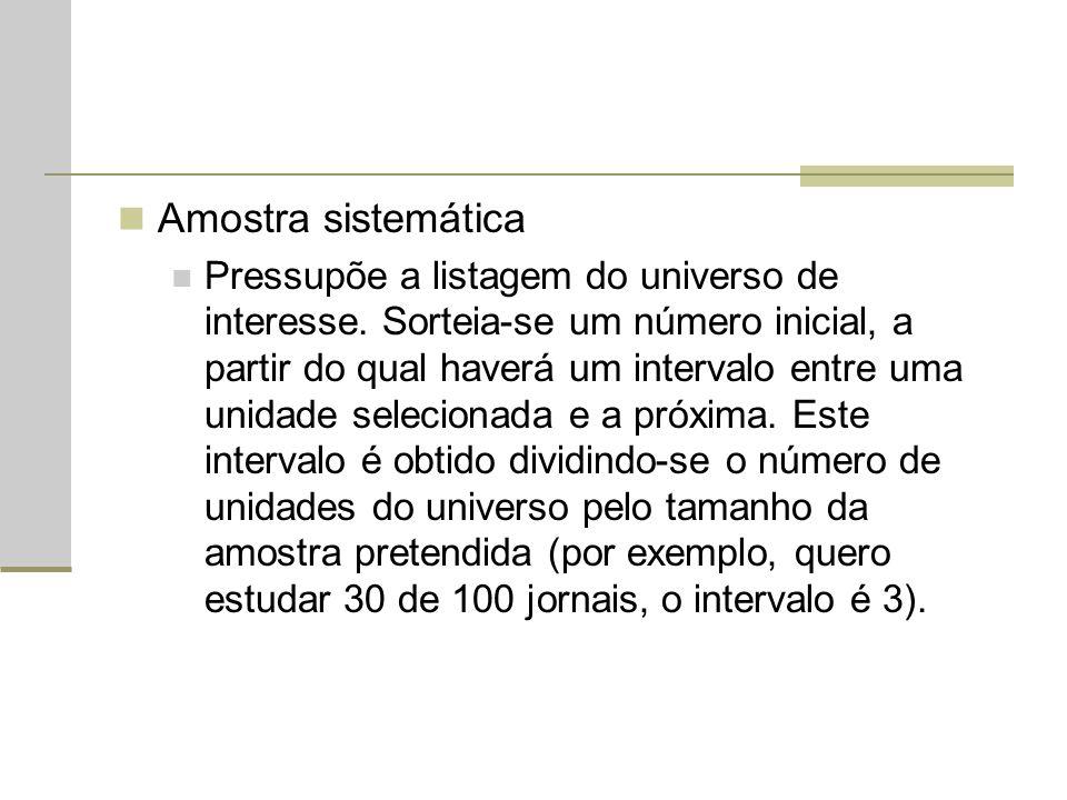 Amostra sistemática Pressupõe a listagem do universo de interesse. Sorteia-se um número inicial, a partir do qual haverá um intervalo entre uma unidad