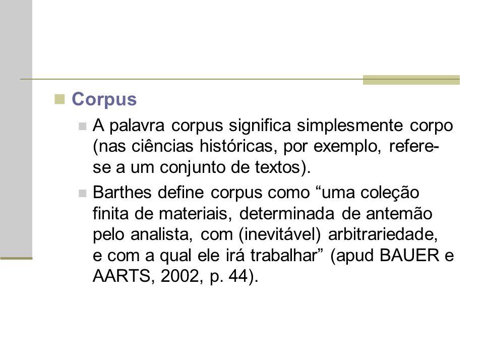 Corpus A palavra corpus significa simplesmente corpo (nas ciências históricas, por exemplo, refere- se a um conjunto de textos). Barthes define corpus