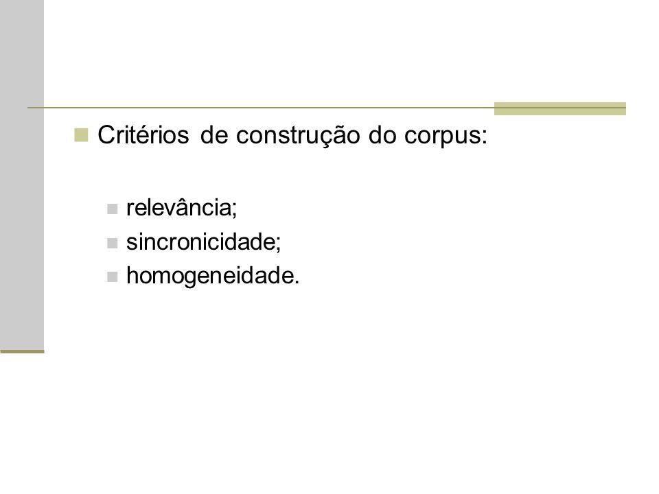 Critérios de construção do corpus: relevância; sincronicidade; homogeneidade.