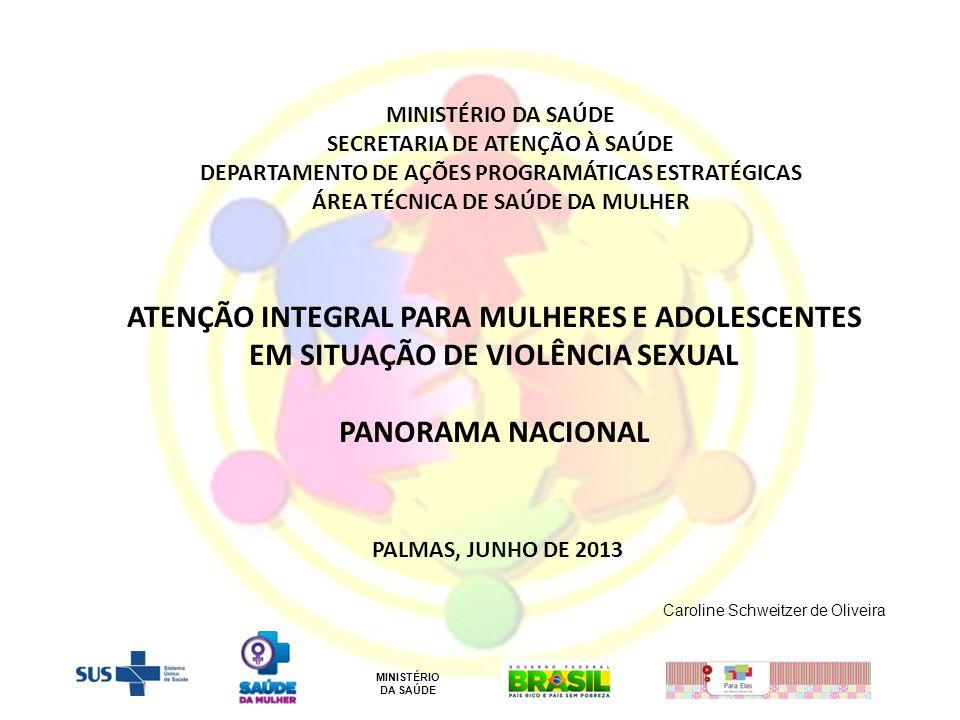 ATENÇÃO INTEGRAL PARA MULHERES E ADOLESCENTES EM SITUAÇÃO DE VIOLÊNCIA SEXUAL PANORAMA NACIONAL PALMAS, JUNHO DE 2013 MINISTÉRIO DA SAÚDE SECRETARIA D
