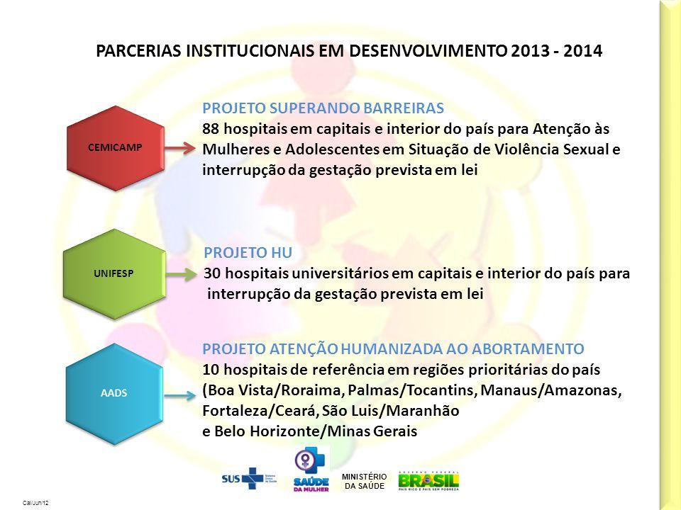 MINISTÉRIO DA SAÚDE Cal/Jun/12 PARCERIAS INSTITUCIONAIS EM DESENVOLVIMENTO 2013 - 2014 CEMICAMP PROJETO SUPERANDO BARREIRAS 88 hospitais em capitais e