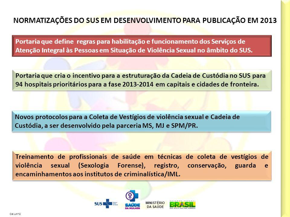 MINISTÉRIO DA SAÚDE Cal/Jun/12 NORMATIZAÇÕES DO SUS EM DESENVOLVIMENTO PARA PUBLICAÇÃO EM 2013 Portaria que cria o incentivo para a estruturação da Ca