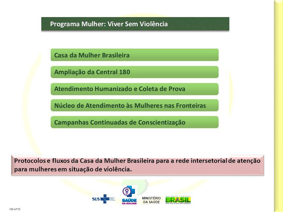 MINISTÉRIO DA SAÚDE Cal/Jun/12 Protocolos e fluxos da Casa da Mulher Brasileira para a rede intersetorial de atenção para mulheres em situação de viol