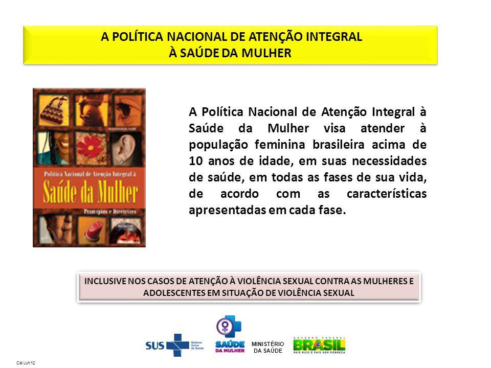 MINISTÉRIO DA SAÚDE A Política Nacional de Atenção Integral à Saúde da Mulher visa atender à população feminina brasileira acima de 10 anos de idade,