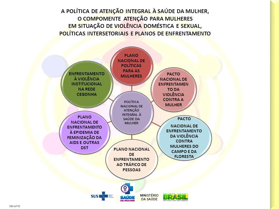 MINISTÉRIO DA SAÚDE Cal/Jun/12 A POLÍTICA DE ATENÇÃO INTEGRAL À SAÚDE DA MULHER, O COMPOMENTE ATENÇÃO PARA MULHERES EM SITUAÇÃO DE VIOLÊNCIA DOMÉSTICA