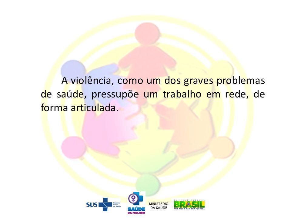 A violência, como um dos graves problemas de saúde, pressupõe um trabalho em rede, de forma articulada. MINISTÉRIO DA SAÚDE