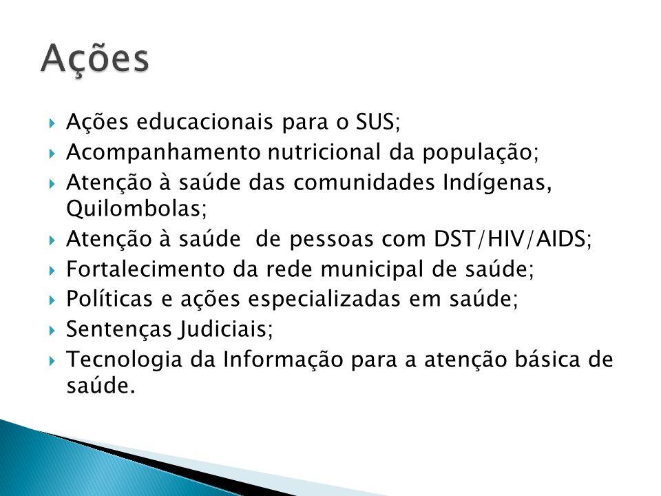 Ações educacionais para o SUS;  Acompanhamento nutricional da população;  Atenção à saúde das comunidades Indígenas, Quilombolas;  Atenção à saúd