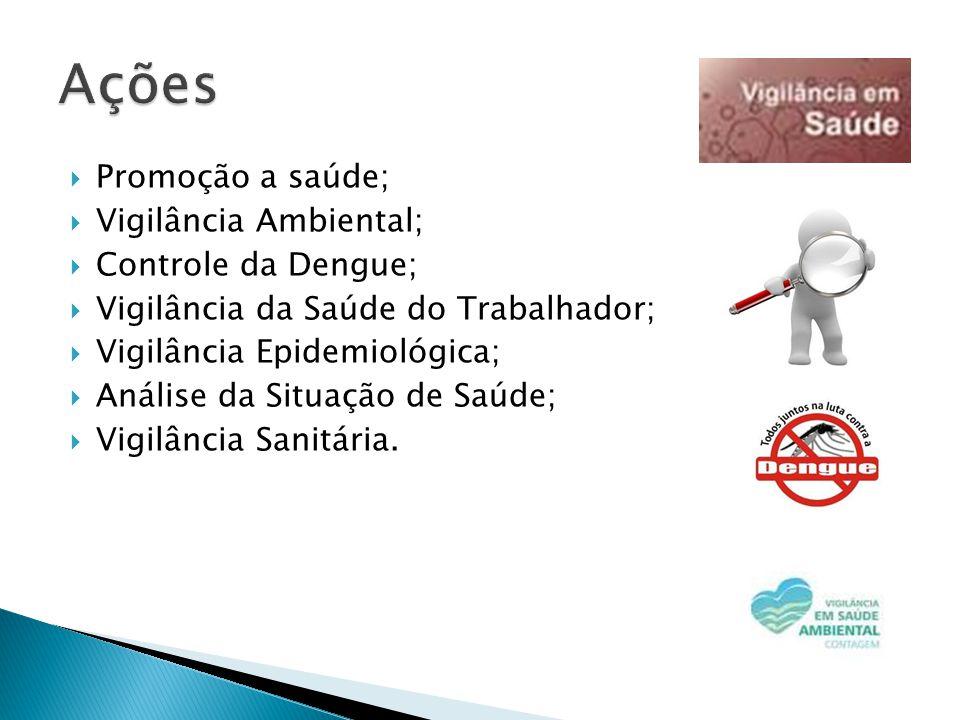  Promoção a saúde;  Vigilância Ambiental;  Controle da Dengue;  Vigilância da Saúde do Trabalhador;  Vigilância Epidemiológica;  Análise da Situação de Saúde;  Vigilância Sanitária.