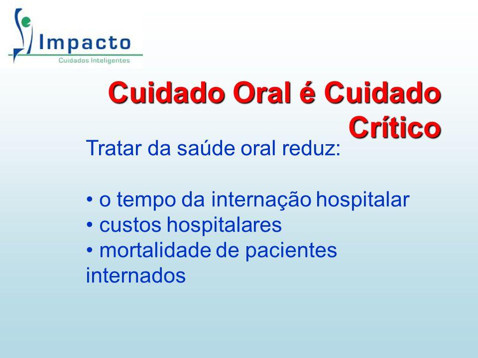 Cuidado Oral é Cuidado Crítico Tratar da saúde oral reduz: o tempo da internação hospitalar custos hospitalares mortalidade de pacientes internados