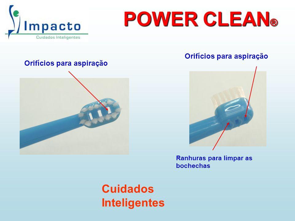 POWER CLEAN ® Orifícios para aspiração Ranhuras para limpar as bochechas Orifícios para aspiração Cuidados Inteligentes
