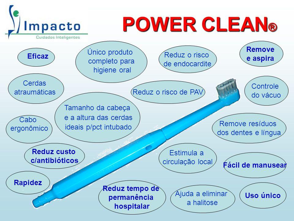 POWER CLEAN ® Eficaz Rapidez Fácil de manusear Uso único Reduz custo c/antibióticos Remove resíduos dos dentes e língua Estimula a circulação local Ún