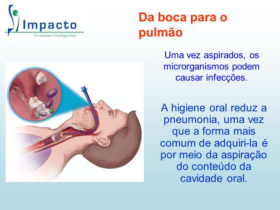 A higiene oral reduz a pneumonia, uma vez que a forma mais comum de adquiri-la é por meio da aspiração do conteúdo da cavidade oral. Da boca para o pu