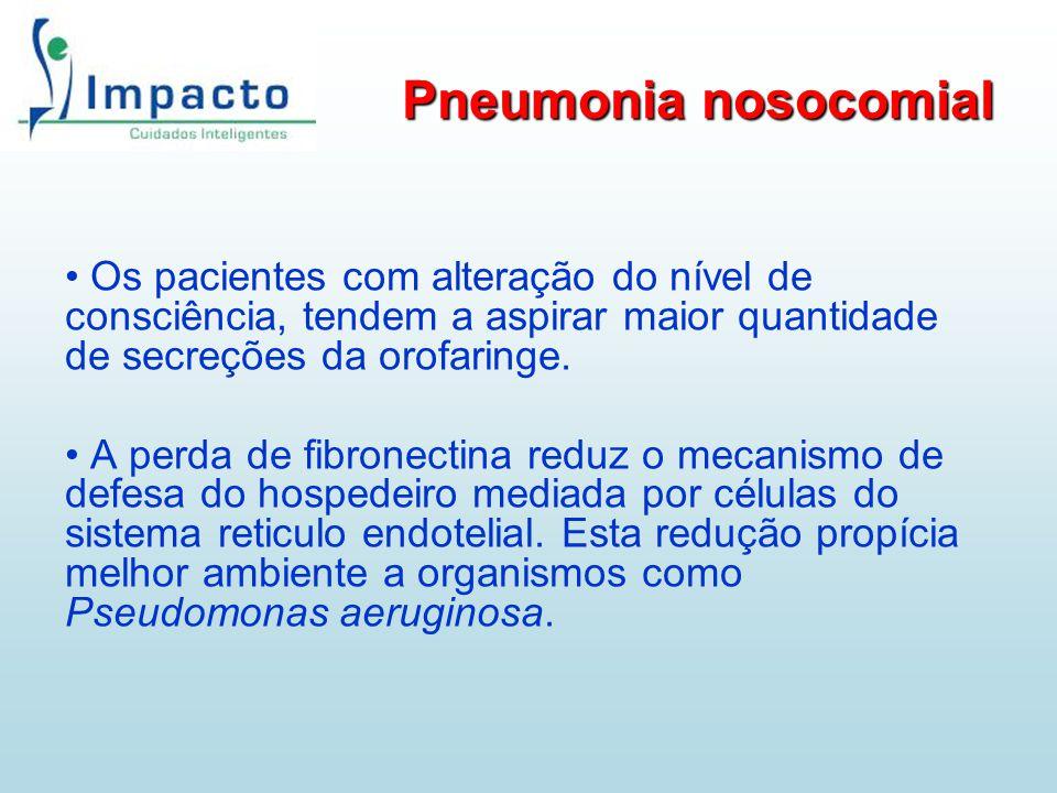 Pneumonia nosocomial Os pacientes com alteração do nível de consciência, tendem a aspirar maior quantidade de secreções da orofaringe. A perda de fibr