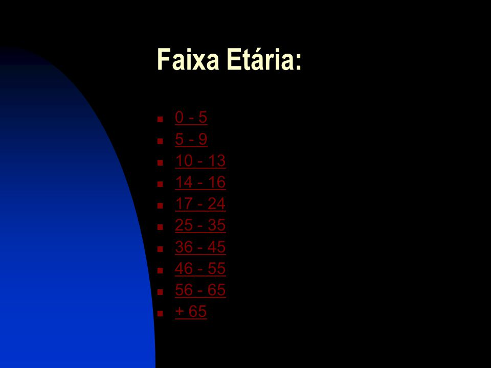 Faixa Etária: 0 - 5 5 - 9 10 - 13 14 - 16 17 - 24 25 - 35 36 - 45 46 - 55 56 - 65 + 65