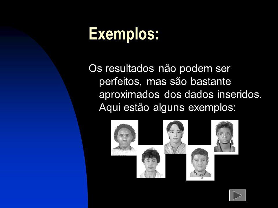Exemplos: Os resultados não podem ser perfeitos, mas são bastante aproximados dos dados inseridos.