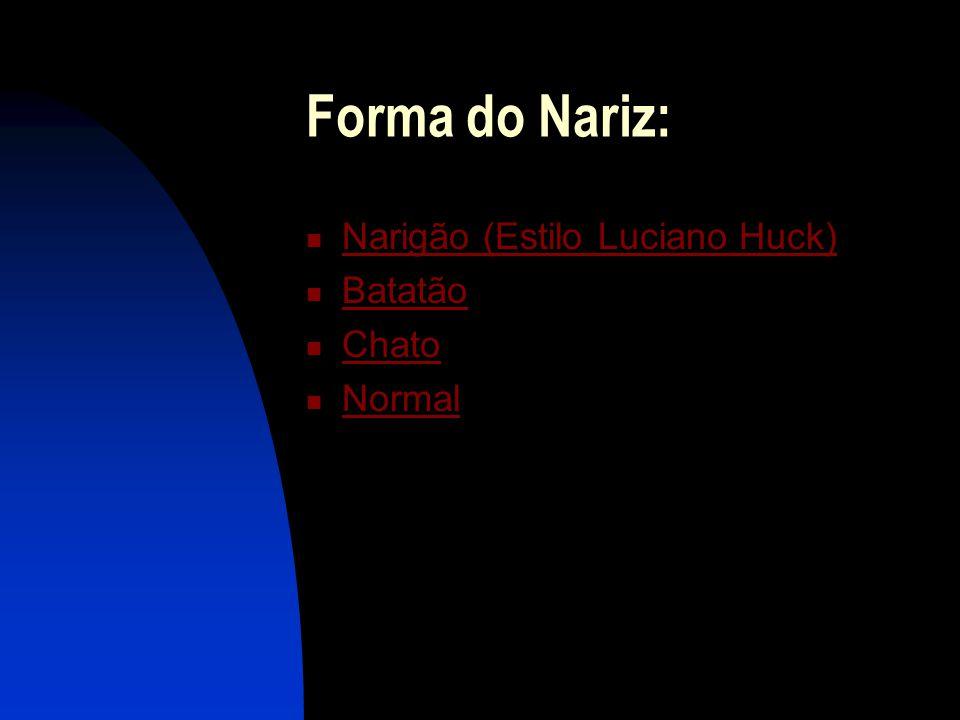 Forma do Nariz: Narigão (Estilo Luciano Huck) Batatão Chato Normal
