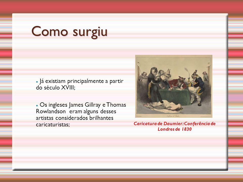 Já existiam principalmente a partir do século XVIII; Os ingleses James Gillray e Thomas Rowlandson eram alguns desses artistas considerados brilhantes caricaturistas; Caricatura de Daumier: Conferência de Londres de 1830 Como surgiu