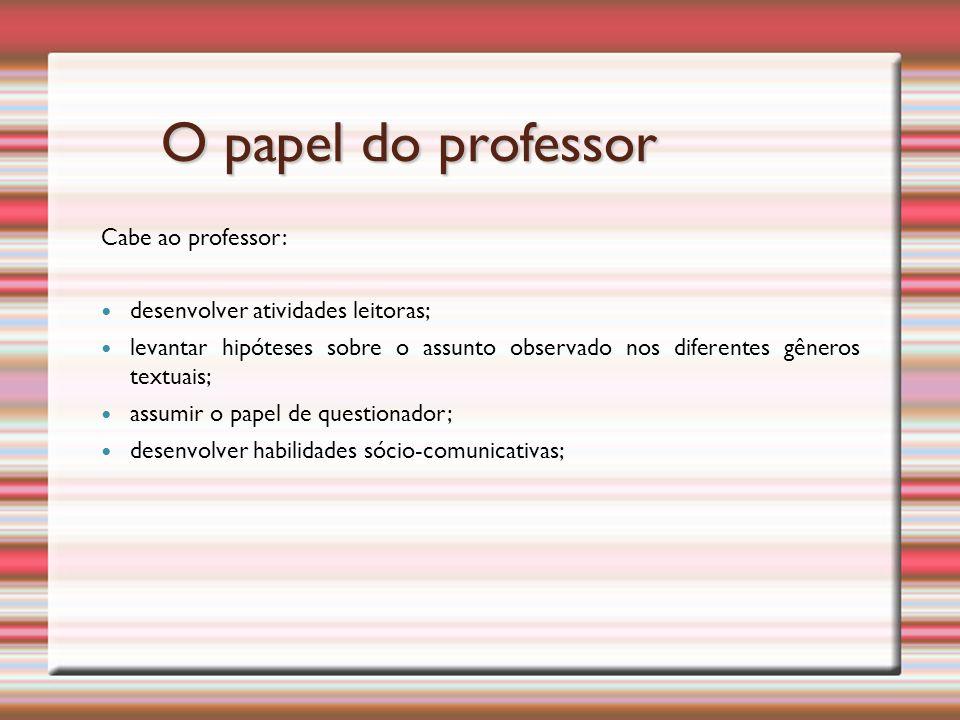 O papel do professor Cabe ao professor: desenvolver atividades leitoras; levantar hipóteses sobre o assunto observado nos diferentes gêneros textuais; assumir o papel de questionador; desenvolver habilidades sócio-comunicativas;