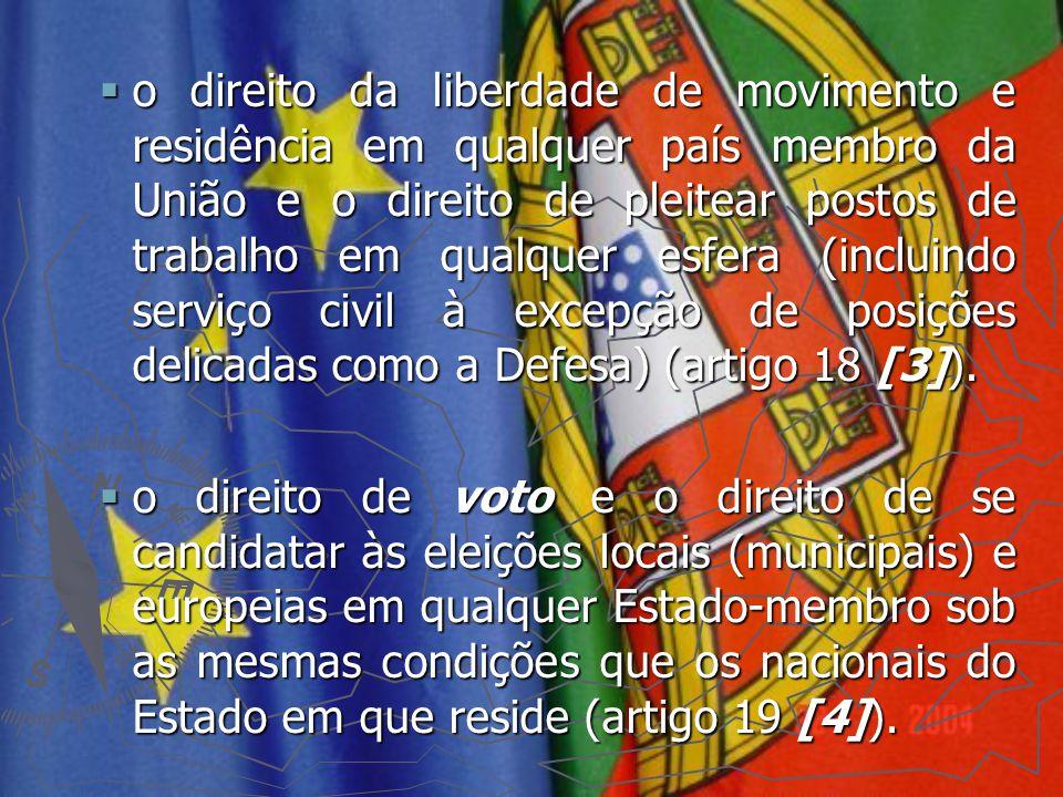  o direito da liberdade de movimento e residência em qualquer país membro da União e o direito de pleitear postos de trabalho em qualquer esfera (inc