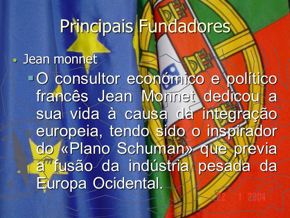 Principais Fundadores Jean monnet Jean monnet  O consultor económico e político francês Jean Monnet dedicou a sua vida à causa da integração europeia