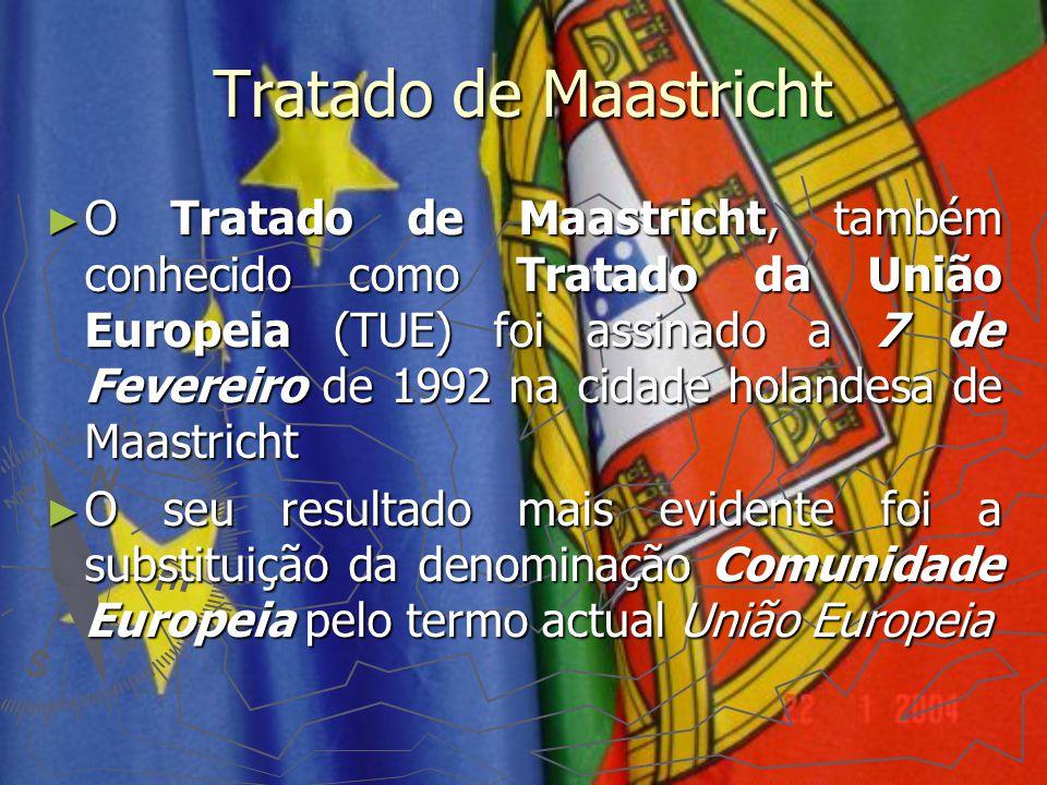 Tratado de Maastricht ► O Tratado de Maastricht, também conhecido como Tratado da União Europeia (TUE) foi assinado a 7 de Fevereiro de 1992 na cidade