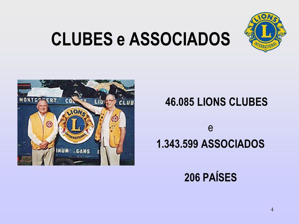 4 CLUBES e ASSOCIADOS 46.085 LIONS CLUBES e 1.343.599 ASSOCIADOS 206 PAÍSES