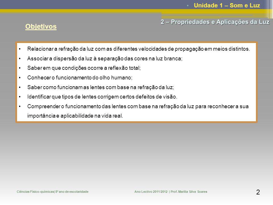 Unidade 1 – Som e Luz Ciências Físico-químicas| 8º ano de escolaridadeAno Lectivo 2011/2012 | Prof. Marília Silva Soares 2 Objetivos Relacionar a refr