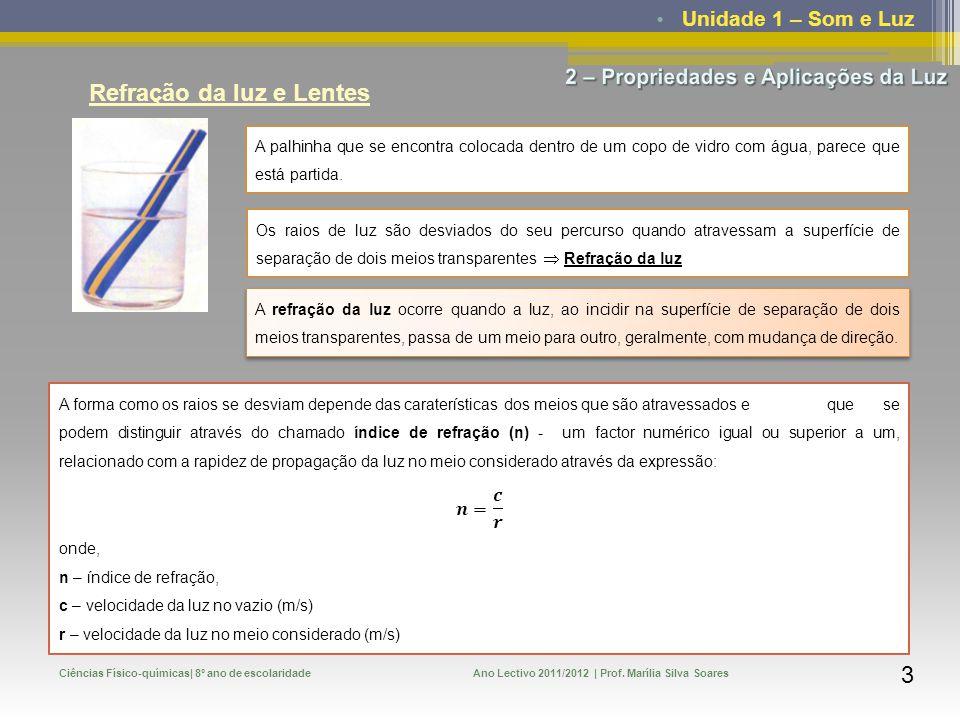 Unidade 1 – Som e Luz Ciências Físico-químicas| 8º ano de escolaridadeAno Lectivo 2011/2012 | Prof. Marília Silva Soares 3 Refração da luz e Lentes A
