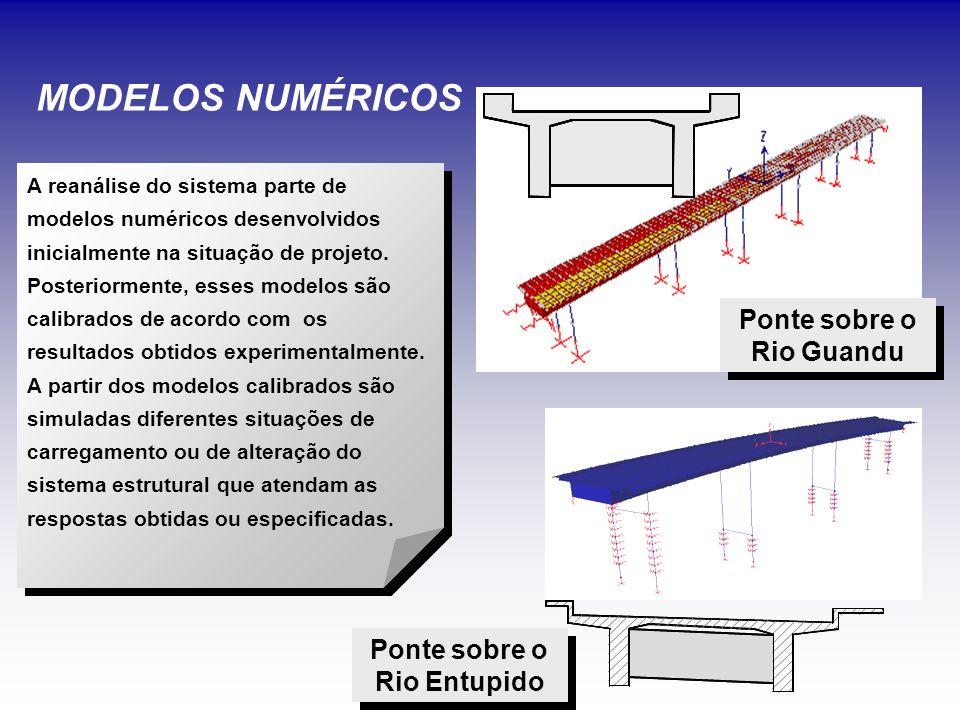 MODELOS NUMÉRICOS Ponte sobre o Rio Guandu Ponte sobre o Rio Entupido A reanálise do sistema parte de modelos numéricos desenvolvidos inicialmente na situação de projeto.