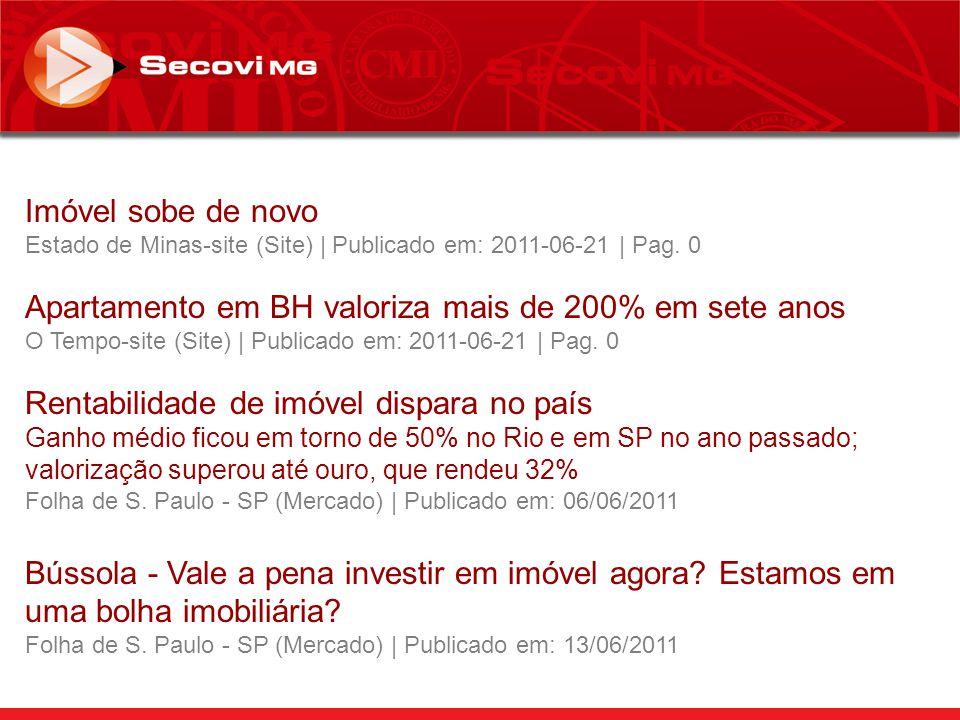 Fonte: Revsta Exame – Edição 992 – 18/05/2011 Apartamentos e casas em São Paulo, Rio de Janeiro e Porto Alegre tiveram, em média, a maior valorização do mundo em 12 meses