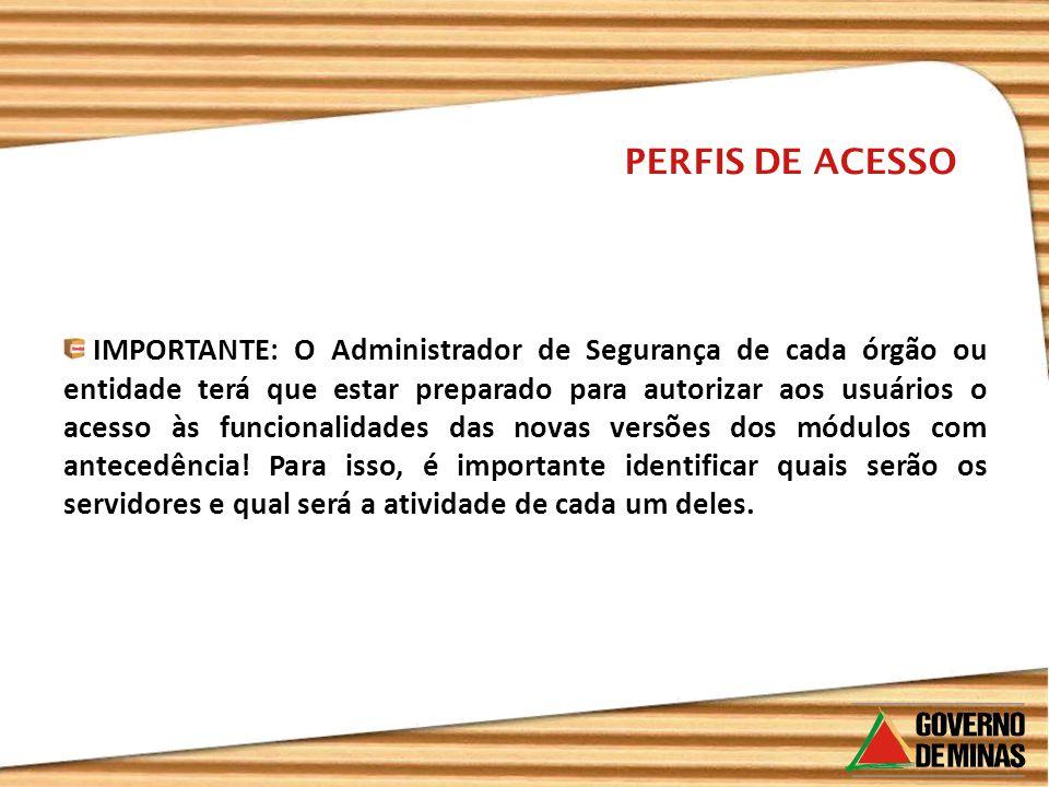 IMPORTANTE: O Administrador de Segurança de cada órgão ou entidade terá que estar preparado para autorizar aos usuários o acesso às funcionalidades da