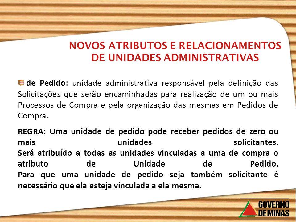 de Pedido: unidade administrativa responsável pela definição das Solicitações que serão encaminhadas para realização de um ou mais Processos de Compra