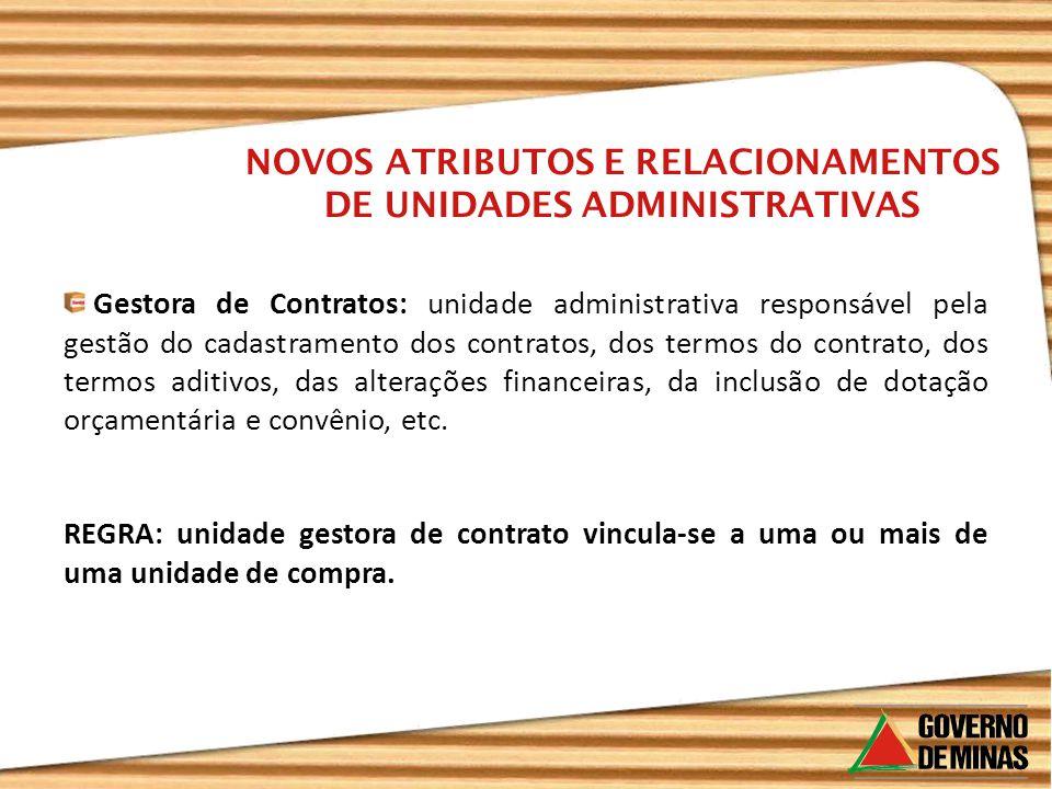 Gestora de Contratos: unidade administrativa responsável pela gestão do cadastramento dos contratos, dos termos do contrato, dos termos aditivos, das alterações financeiras, da inclusão de dotação orçamentária e convênio, etc.