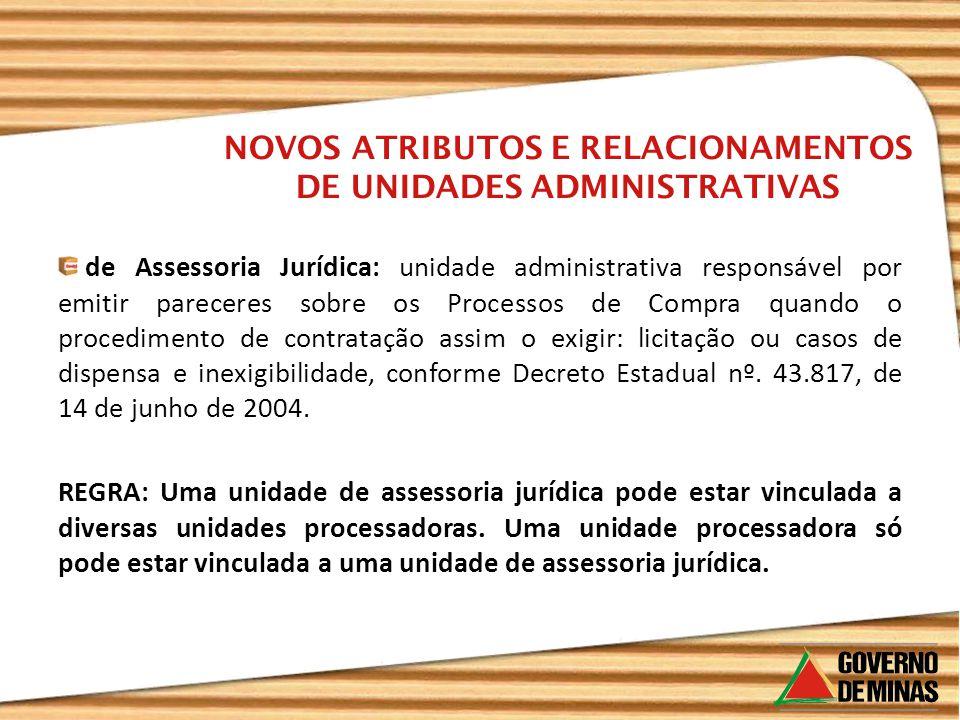 de Assessoria Jurídica: unidade administrativa responsável por emitir pareceres sobre os Processos de Compra quando o procedimento de contratação assi