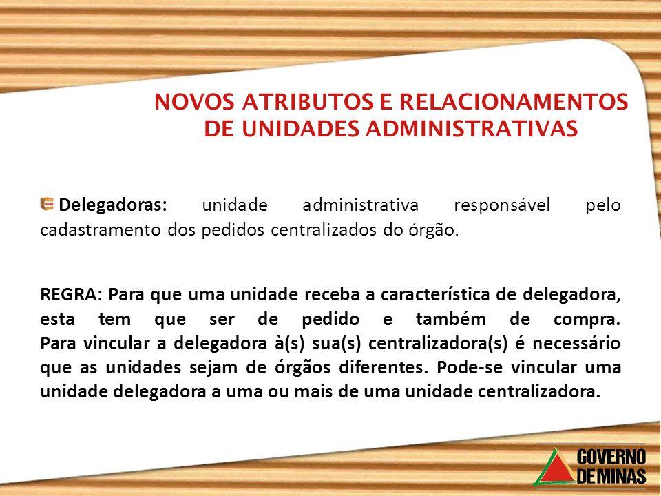Delegadoras: unidade administrativa responsável pelo cadastramento dos pedidos centralizados do órgão. NOVOS ATRIBUTOS E RELACIONAMENTOS DE UNIDADES A
