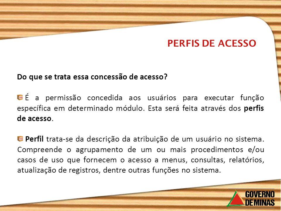 Do que se trata essa concessão de acesso? PERFIS DE ACESSO É a permissão concedida aos usuários para executar função específica em determinado módulo.