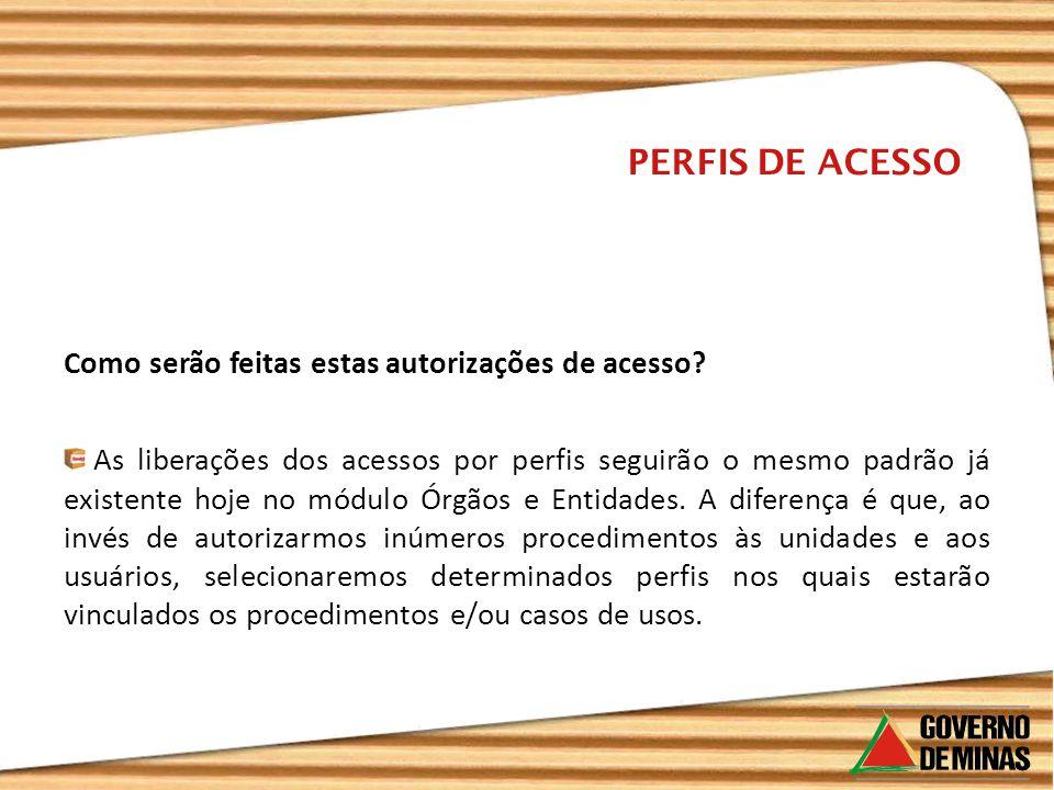 PERFIS DE ACESSO Como serão feitas estas autorizações de acesso? As liberações dos acessos por perfis seguirão o mesmo padrão já existente hoje no mód