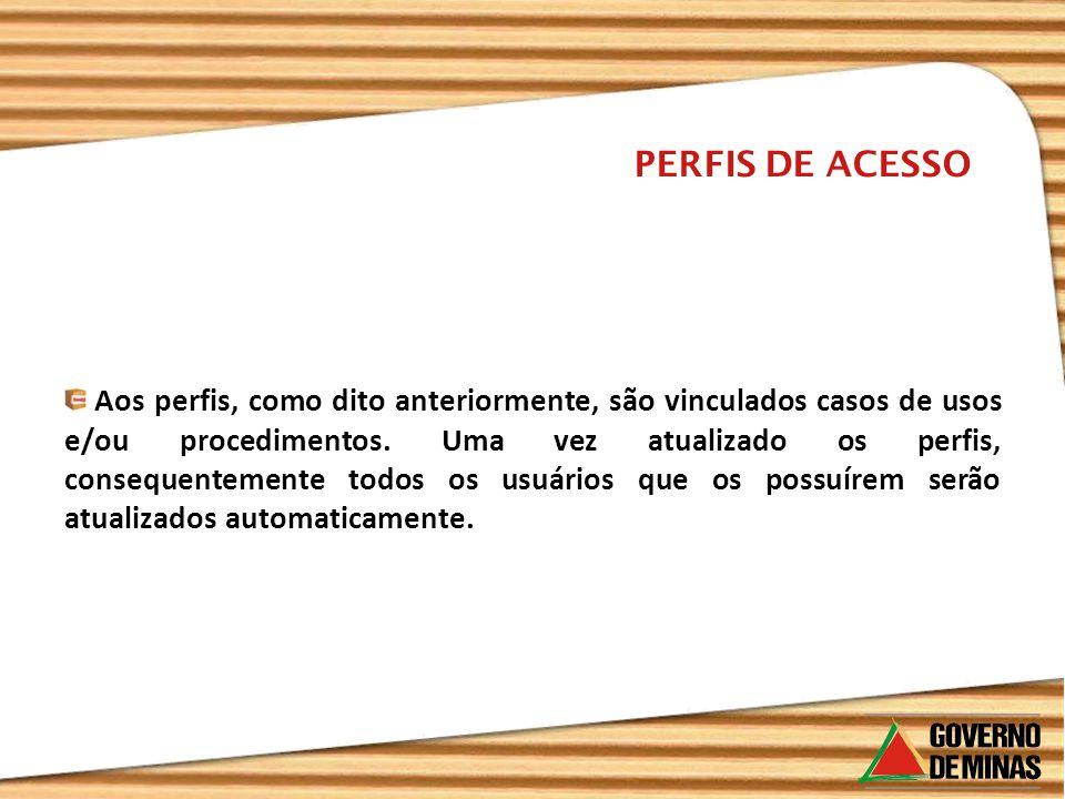 PERFIS DE ACESSO Aos perfis, como dito anteriormente, são vinculados casos de usos e/ou procedimentos. Uma vez atualizado os perfis, consequentemente